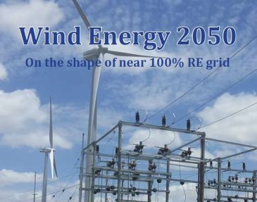 Wind Energy 2050: On the Shape of Near 100% Renewable Energy Grid